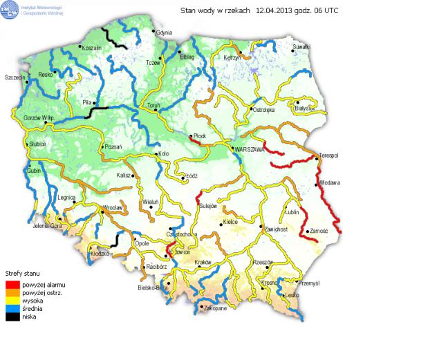 Stan wody w polskich rzekach (IMGW)