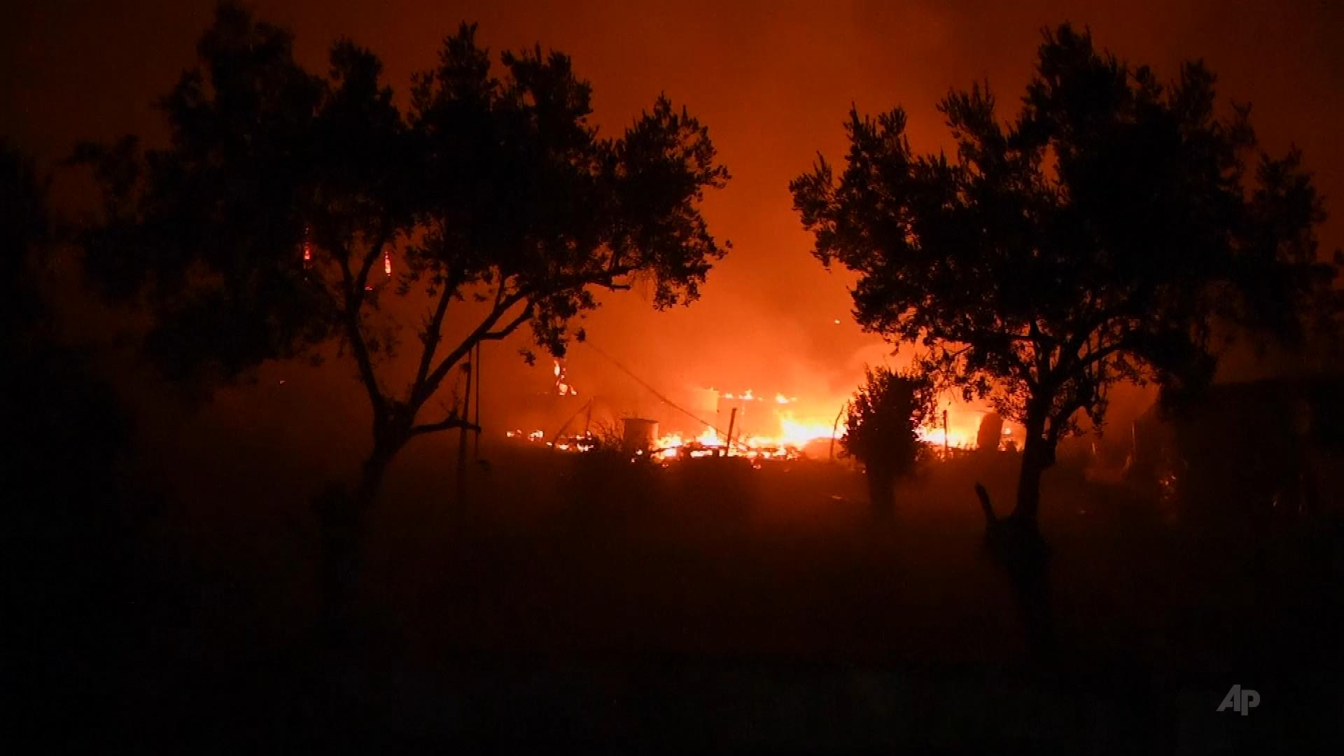 Pożar największego obozu dla uchodźców na Lesbos