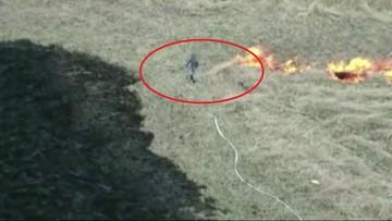 """Wypalał trawy, namierzył go dron. """"Chciał oczyścić działkę"""""""