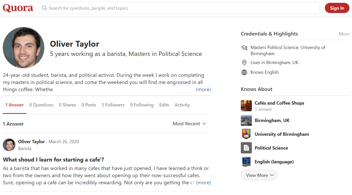 Profil Olivera Taylora na portalu Quora