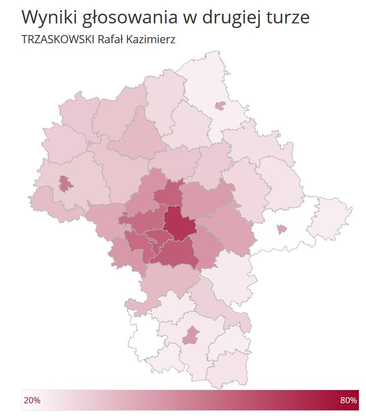 Województwo mazowieckie: wyniki Rafała Trzaskowskiego w drugiej turze wyborów prezydenckich w 2020 roku
