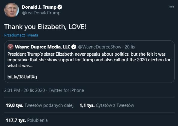 Reakcja Donalda Trumpa na informację o rzekomym założeniu konta na Twitterze przez jego siostrę Elizabeth