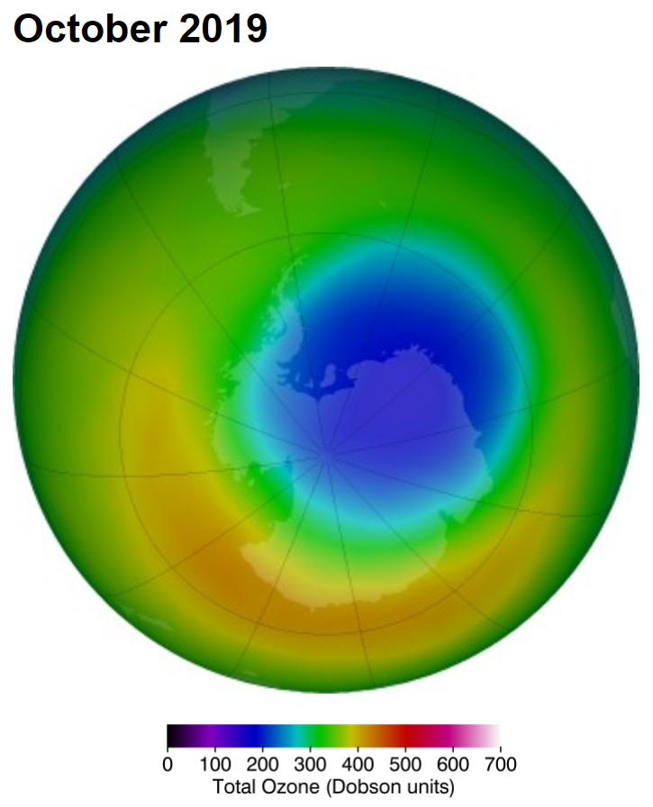 Średnia grubość warstwy ozonowej nad Antarktydą w październiku 2019 r. (w dobsonach)