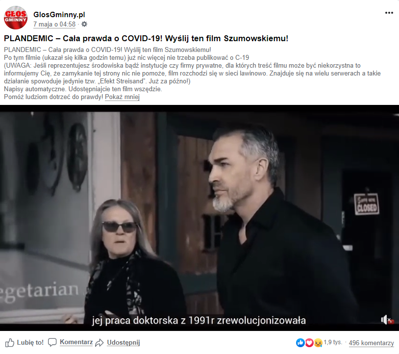 """Film udostępniony na facebookowej stronie """"Głos gminny"""" udostępniono ponad 8 tys. razy"""