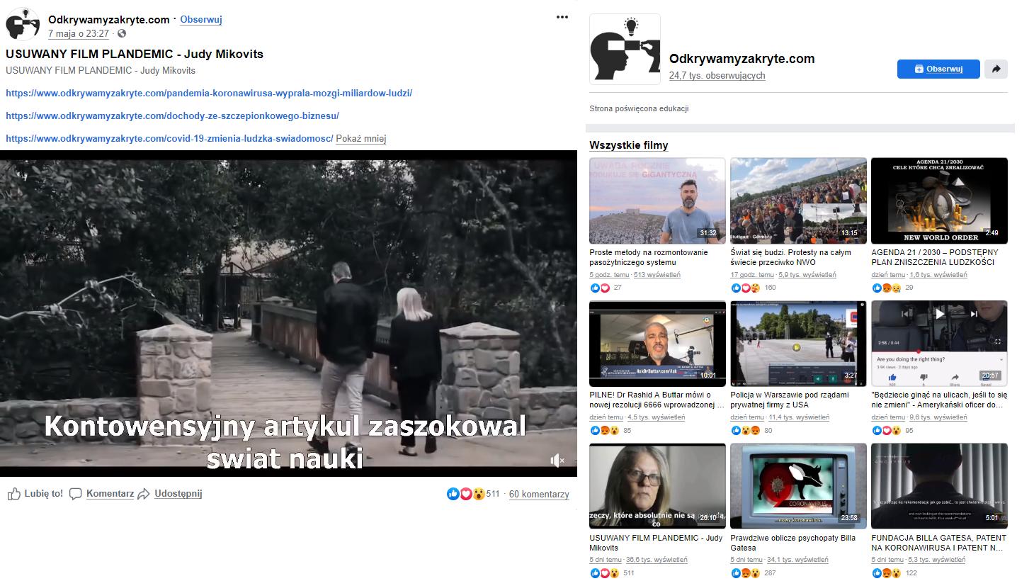 """Film """"Plandemic"""" udostępniono m.in. na facebookowej stronie """"Odkrywamy zakryte"""". Po prawej: przykłady zamieszczanych na niej treści"""