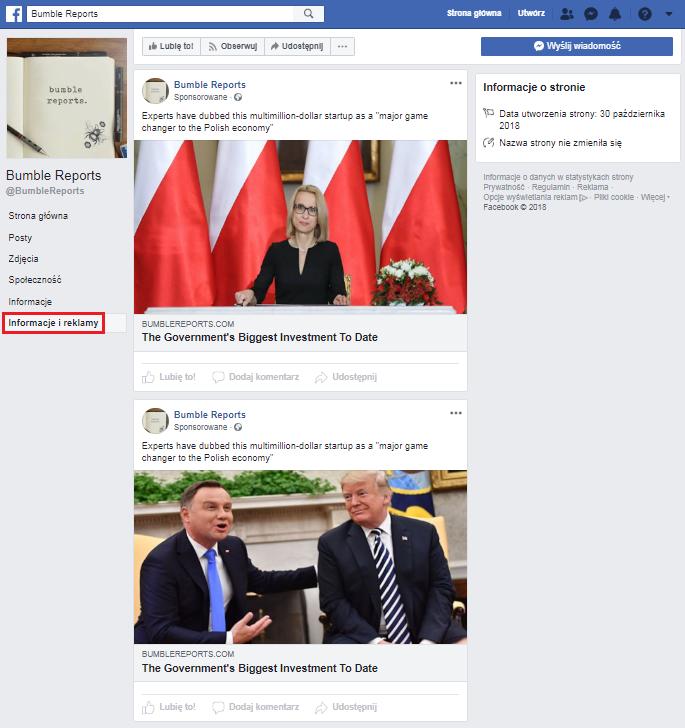Lista reklam i wpisów sponsorowanych zakupionych przez facebookowy profil