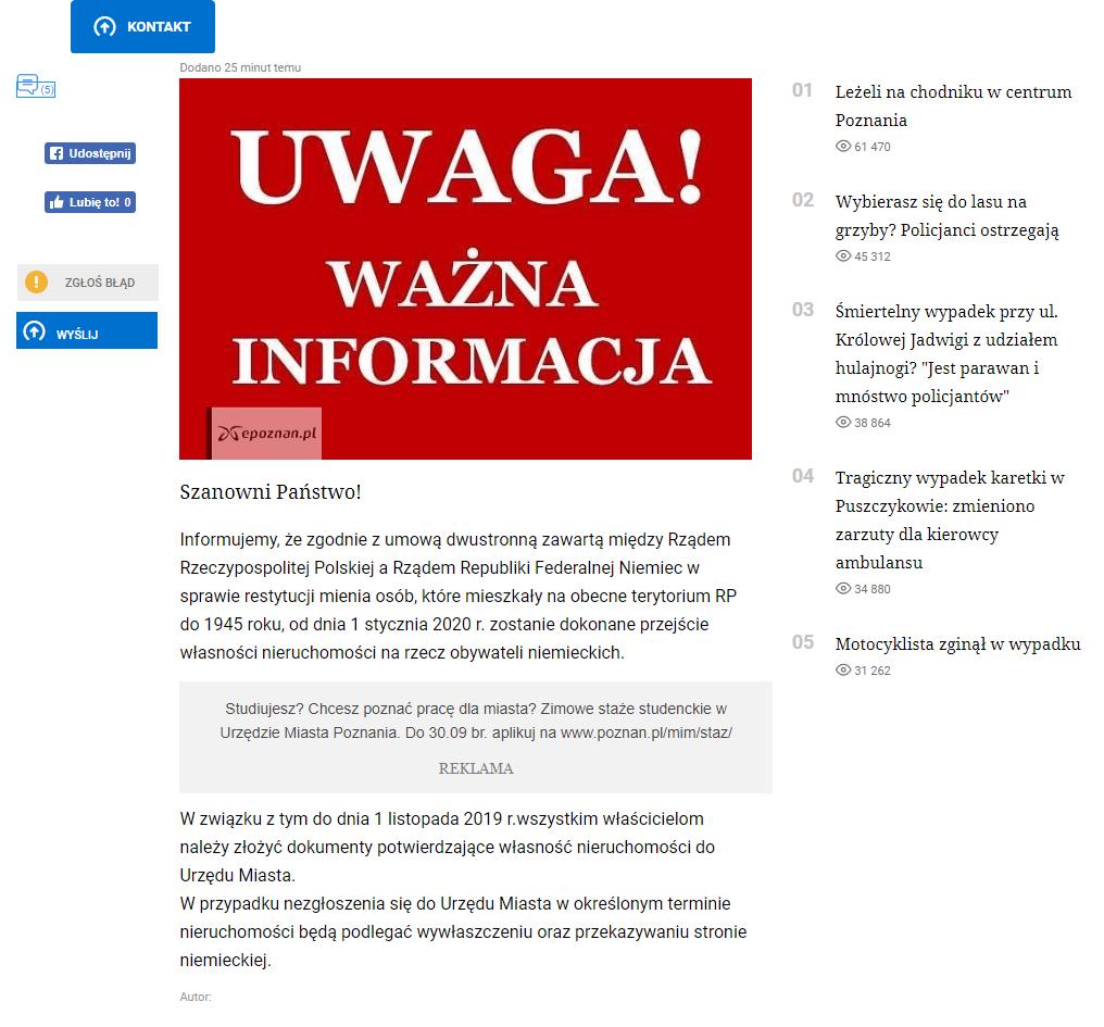 Fałszywy komunikat na stronie epoznan.pl