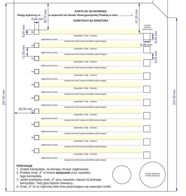 Wzór karty do głosowania do Senatu