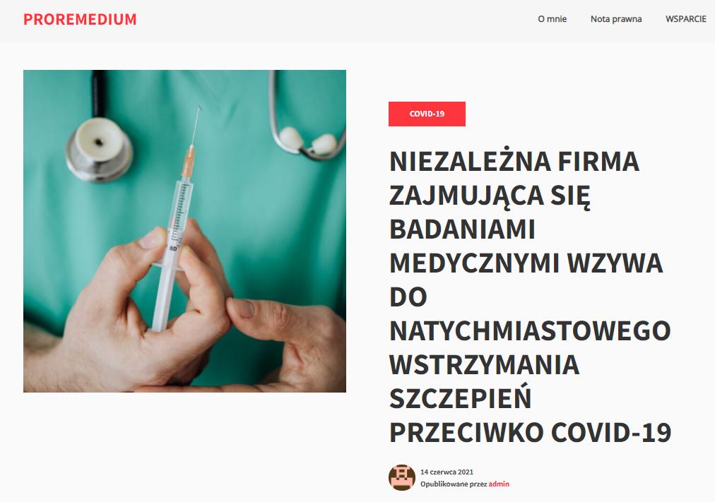 Nagłówek artykułu opublikowanego na stronie proremedium.pl