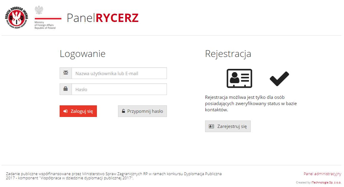 Tak wygląda strona rejestracji i logowania do aplikacji Rycerz