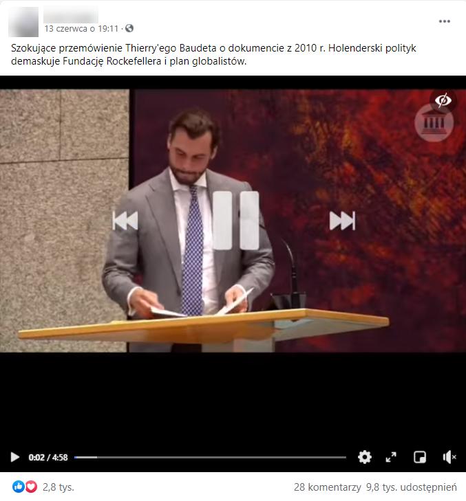 Nagranie z wystąpienia holenderskiego polityka wyświetlono na Facebooku ponad 94 tys. razy