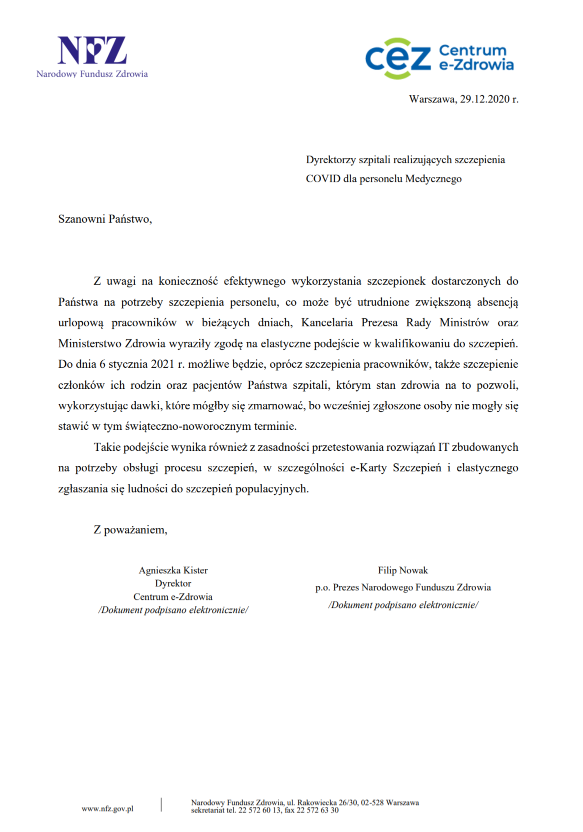 Pismo NFZ do dyrektorów szpitali